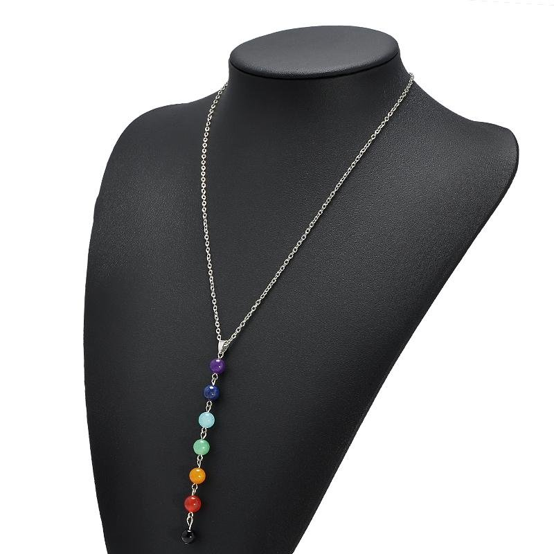 Fashion Colorful Beads Chain Pendant Necklace Gold Color Pick Chain Choker Necklace Women Jewelry Fr