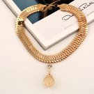 Fashion Crystal Metal Collar Chain Women Hollow Leaf Pendant Necklace Wide Bib Choker Jewelry