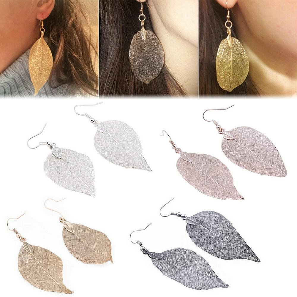 1 Pair Fashion Women Lady Long Natural Metal Leaf Hollow Shape Pendant Earrings Leaves Romance Dangl