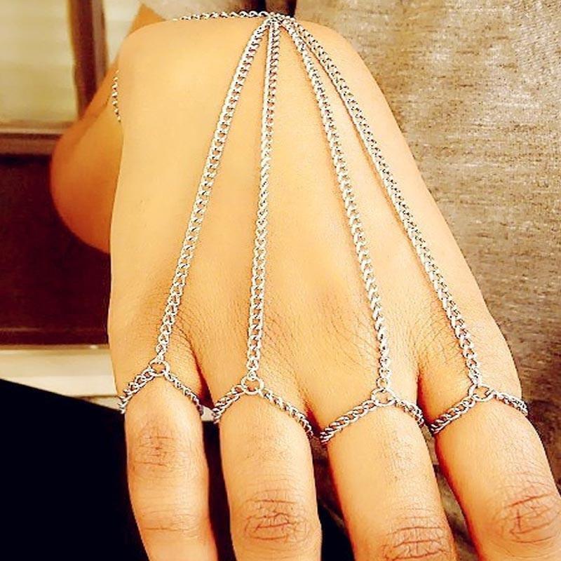 Retro Classic Tassel Bracelet Finger Ring Bangle Slave Chain Jewelry