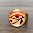 Eye of Horus Vintage Ring Art Glass Dome  Horus Eye Rings for Women Jewelry Silver Ring Adjustable W