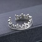 GZ Pure 925 Silver Crown Ring 100% S925 Sterling Solid Silver Rings for Women Jewelry Adjustable Siz