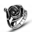 Fashion Stainless Steel Black/Red Cubic Zirconia Rings For Women And Men Double Snake Design CZ Ring