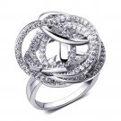 Top fashion korean Big party rings for women New design Zircon Pave Setting Lead Free shipping Abstr