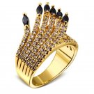 DreamCarnival 1989 Designer Feather Look CZ Crystals Ring for Women Rhodium Gold-Color Bridal Weddin