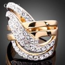 CHRAN Unique Design Gold Color Finger Rings Jewelry Ladies Gift Wholesale Fashion Crystal Promise Ri