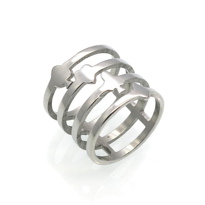 Newest Stainless Steel Women Ring Hollow out Design 4 Rows Gold Color Rings Women\'s Party Wedding J