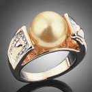 New Fashion Round Simulated-pear Pearl Elegant Women Ring Glod-color Design Ring Wedding Jewelry For
