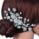 Delicate Women\'s Bridal Wedding Rhinestones Pearl Decor Flower Style Hair Comb Clip Hair Pin Hair A