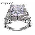 \'Women \'s Skull Ring Princess white Zircon\' Women\' s Wedding Ring Punk Jewelry wholesale