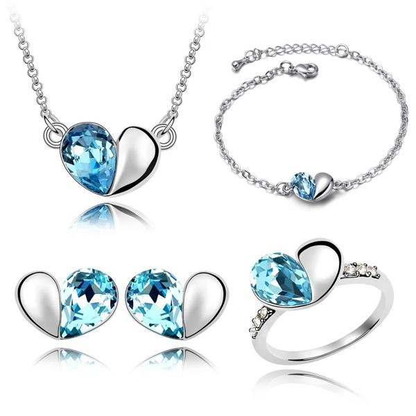Wholesale Crystal Jewelry Sets Cute Heart Pendants Necklaces Stud Earring, Ring And Bracelet Bangles