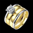 Fashion Titanium Steel Ring Set for Women Couple Smooth Ring Face Gold Silver Plated Zircon Prong Se