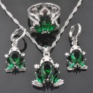 FAHOYO Green Zircon Frog Design Women\'s 925 Sterling Silver Jewelry Sets Earrings/Pendant/Necklace/