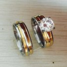 gold silver color large Cubic Zirconia 6mm*2 Couples Rings Set for Men Women Engagement Lovers pair