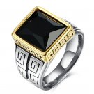 Vintage Army Rings gold old Plated Ring With CZ Stone Stainless Steel Eagle Pattern Ring For Male Je