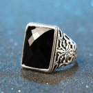 Vintage Men Rings Big Black Opals Precious Stones peridot Thailand Silver Ring For Women Jewelry ane