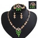 Flower Rhinestone Necklace Bib Earring Brooch Bracelet Jewelry Set brinco noiva Gifts for Women