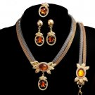 Promotion Color Resin Crystal Multilayer Metal Chain Necklace and earrings for women African Jewelry