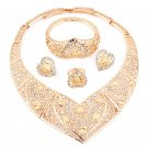 Hollow Out Gold Color Alloy Heart shaped necklace bangles earring ring set for women African jewelry