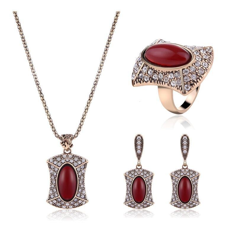 Vintage Suit Turkish Jewelry Red Gem Crystal Earrings Necklace Ring For Women Nigerian Wedding Afric