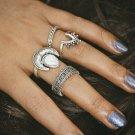 BYSPT 4pcs/Set Vintage Punk Ring Set Hollow Antique Silver Color Lucky midi Rings Women Boho Beach J