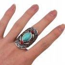 Bohemian Ethnic Tibet Design Red Green Gem Stone Big Beachy Boho Joint Ring Punk Carving Leaf Big Ri
