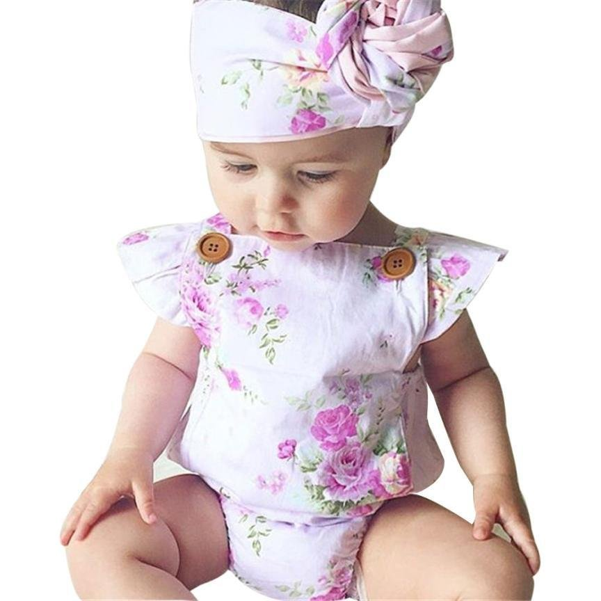 Summer 2017 Cute Infant Baby Girls Floral Sleeveless Romper +Headband Summer One-pieces Rompers Suns