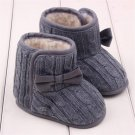 Baby Winter Shoes Children Girls Knitted Wool Line Warm Bowknot Soft Sole First Walkers chaussures d