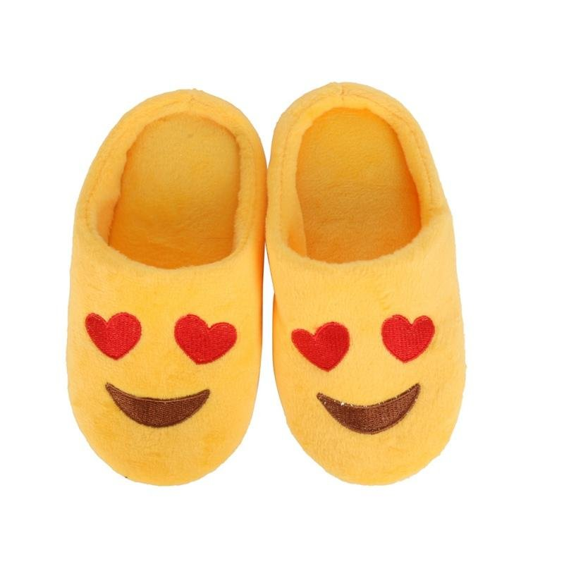 Hot Winter Children Girls Boys Expression Package Cotton Slippers love Smiling Face Section Flip Flo
