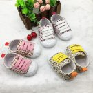 Newborn Toddler Baby Floral Soft Sole Crib Shoes Girl Lace Up Cotton Shoes 0-18M