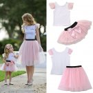 2017 Super Cute Mom Girls Summer Casual Clothing Set T-shirt Skirt Tulle Dress Matching Outfits Fami