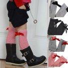 2018 Girls Knee High Socks with Bow Kids Boot Socks Stripe Cute Princess Long Socks for School Baby