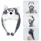 Cartoon Animal style Hood Wolf Hat Hoods Beanies Cute Fluffy kids Caps Soft Warm Scarf Earmuff Plush