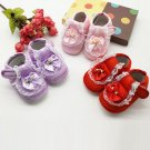 2017 Toddler Kids Baby Girls Lace Bowknot Rose Flower Newborn Walking Shoes BTTF