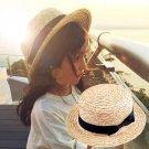 Cute Child Girls Boy Straw Bowknot Sun Hat Kids Large Brim Beach Summer Boater Beach Ribbon Round Fl