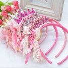 1PC Cute Kids Girls Pearls Lace Bow Ribbon Crown Princess Christmas Party Birthday Hair Band Hoop Ac
