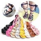 Newborn Infant Baby Girl Leather Bandage Sandals Summer Pram Soft Flat Shoes