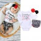 Infant Newborn Baby Girls Clothes Set Flower Headband Romper Bottoms Baby Girl Ruffles 3pcs Outfit S