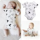 Infant Newborn Baby Girls Boy Origami Birds Rompers Jumpsuit Baby Clothes 0-24M White