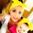 baby turban printing parent-child model bow tie elastic hair band adult children rabbit ears printin