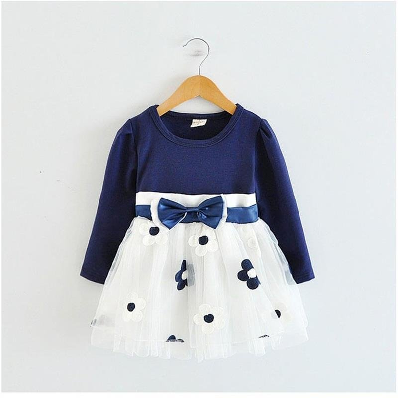 Kids Dresses for Girls 2018 Winter Cotton Flower Baby Dress Clothes 1 year Newborn Girl Clothing ves