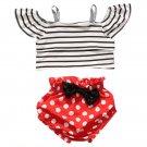 Baby Girl Summer Clothing Newborn Toddler Baby Girls Short Sleeve Stripe T-shirt Tops+Polka Dot Shor