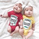 Summer Cute Baby Boys Girls Clothes Short Sleeved Red Yellow Baby Bodysuit Unisex Baby One-piece Jum