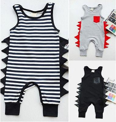Cotton Newborn Baby Boy Sleeveless Dinosaurs Cotton Romper Jumpsuit Playsuit Outfit Clothes 0-24M