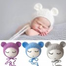 Newborn Mohair Ear Bear Hat Bonnet Baby Infant  Photography Props Cap Gorro Bebe Handmade Knitted Ha