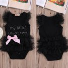Rompers Infant Baby Girls Clothes My Little Black Dress Bow Lace Short Sleeve Cute Cotton Rompers Ou