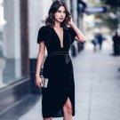 2017 Womens brand Elegant Sexy deep V Neck Velvet Belt short Sleeve Work Business Party Bodycon slip