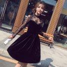 2018 Spring New Arrival Lace Corduroy Patchwork Women Dress Elegant A-line Korean Style Dress Office