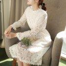2018 new style women lace velvet dress halter deep o neck long sleeve lace dress sexy casual velour