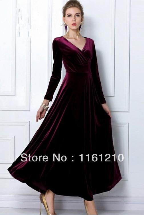 Burgundy Red Long Velvet Party Formal Evening Maxi Dress Gown Plus sizes